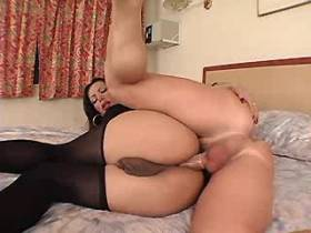Brunette tranny has fuck from behind and gets facial