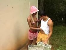 Lustful shemale drills guy outdoor
