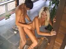 Dissolute dude comes on blond tgirl