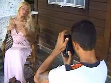 Tgirl does good blowjob in verandah