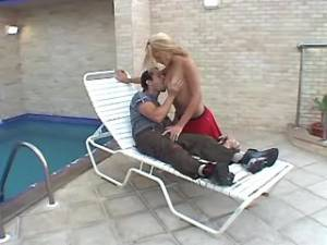 Cute blond blows guy and gets nailed outdoors