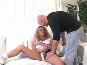 Blond tranny polishes bald guys knob and jerks off
