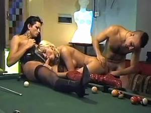 Male female and shemale threesome on pool table with dildo