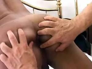 Hard nailed shemale blows her load on her belly