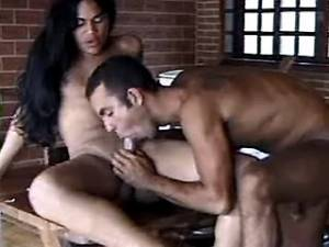 Latin shemale hard fucks guy on table and jizzing