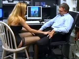 Blond shemale secretary throats fat cock in office