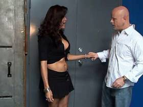 Beauty shemale and bald guy suck cocks each other