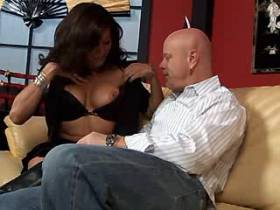 Amazing brunette tranny and bald guy fuck each other