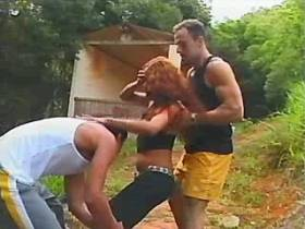Redhair shemale sucks two cocks in group outdoor