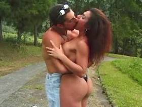 Shemale sucks cock and gets fucked by guy outdoor