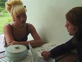 Guy sucks cock and gets fucked by blonde cute tranny