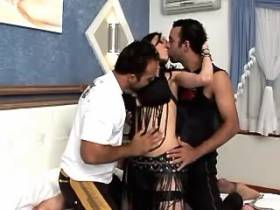 Brunette shemale sucking and fucking with two guys
