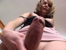 Blonde shemale sucks two big dicks and gets blowjob