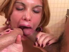 Cute shemale gets facial after fuck in threesome