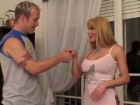 Cute blonde tranny does blowjob and gets dick in ass