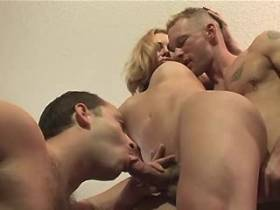 Cute shemale and two guys fuck each other and jizz