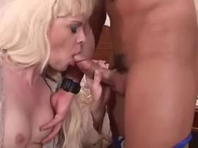 Guy fucks blonde shemale and they jizz on her body