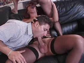 Beautiful shemale fucks with two guys and jizzes